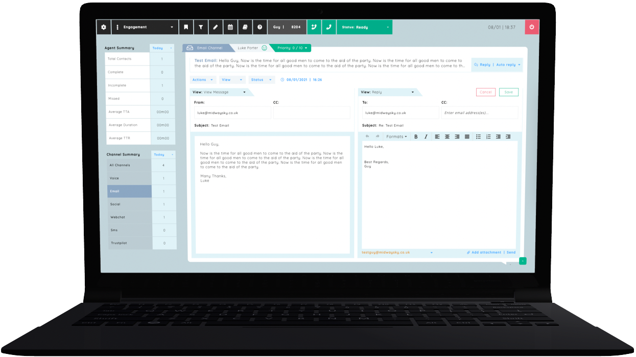 A visual example of DigiDesk's Engagement showing the email management view