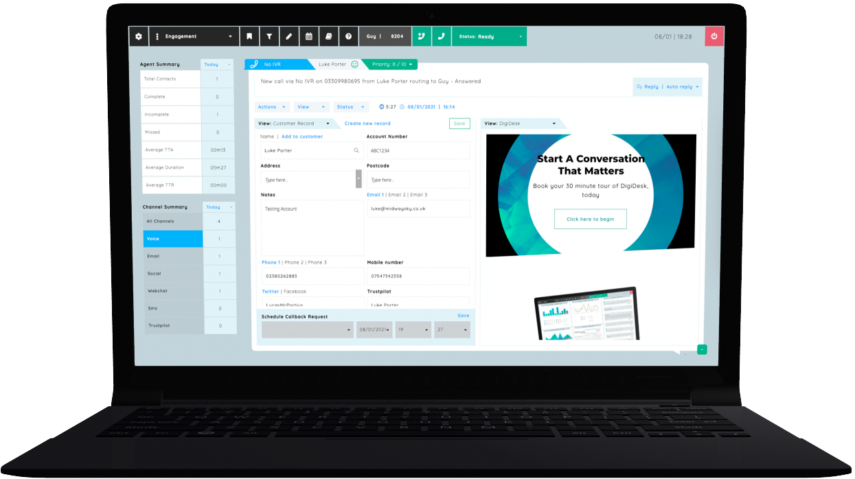 A visual example of DigiDesk's Engagement view, showcasing the Voice channel