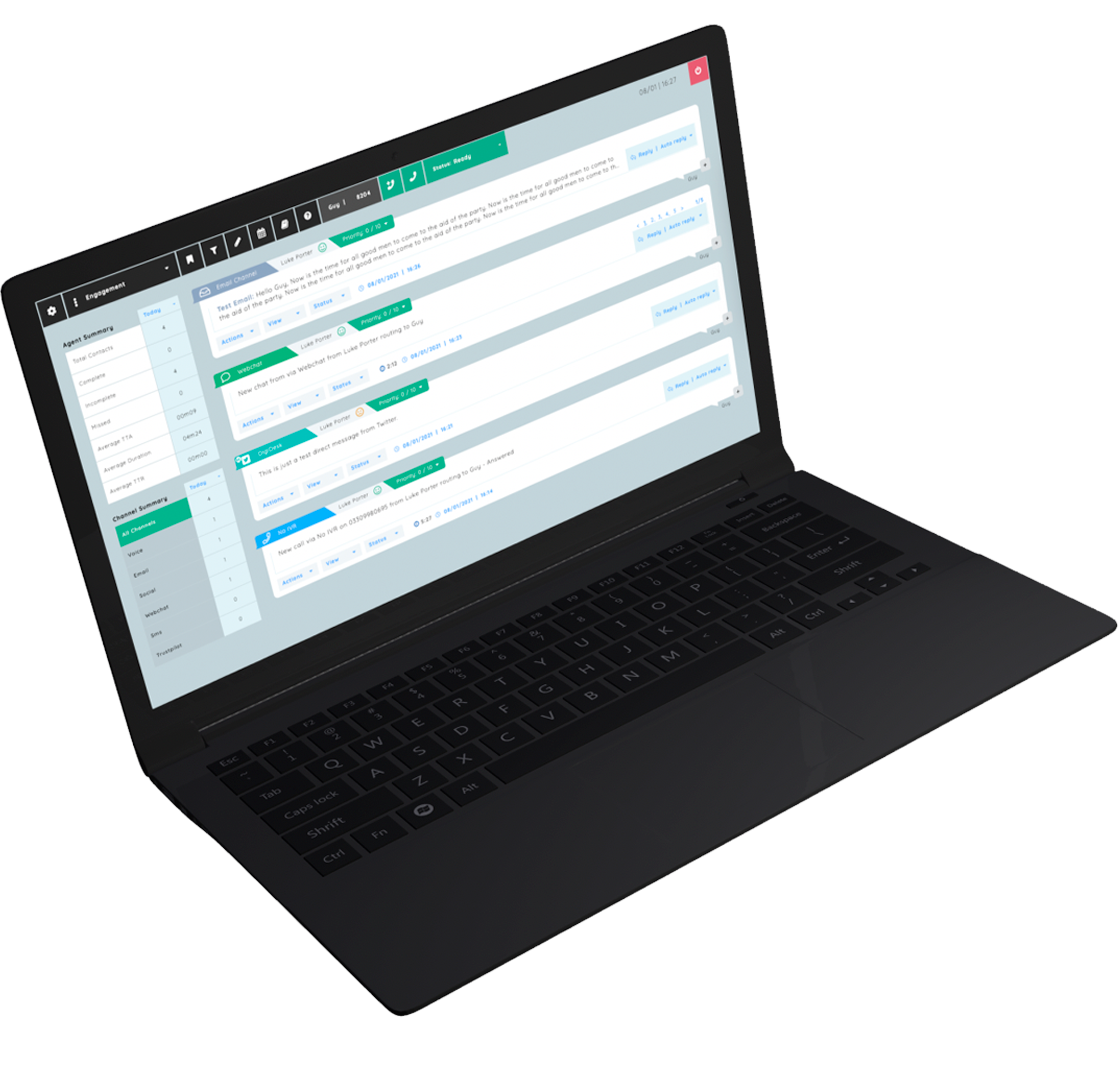 A visual example of DigiDesk's cloud contact centre, engagement console