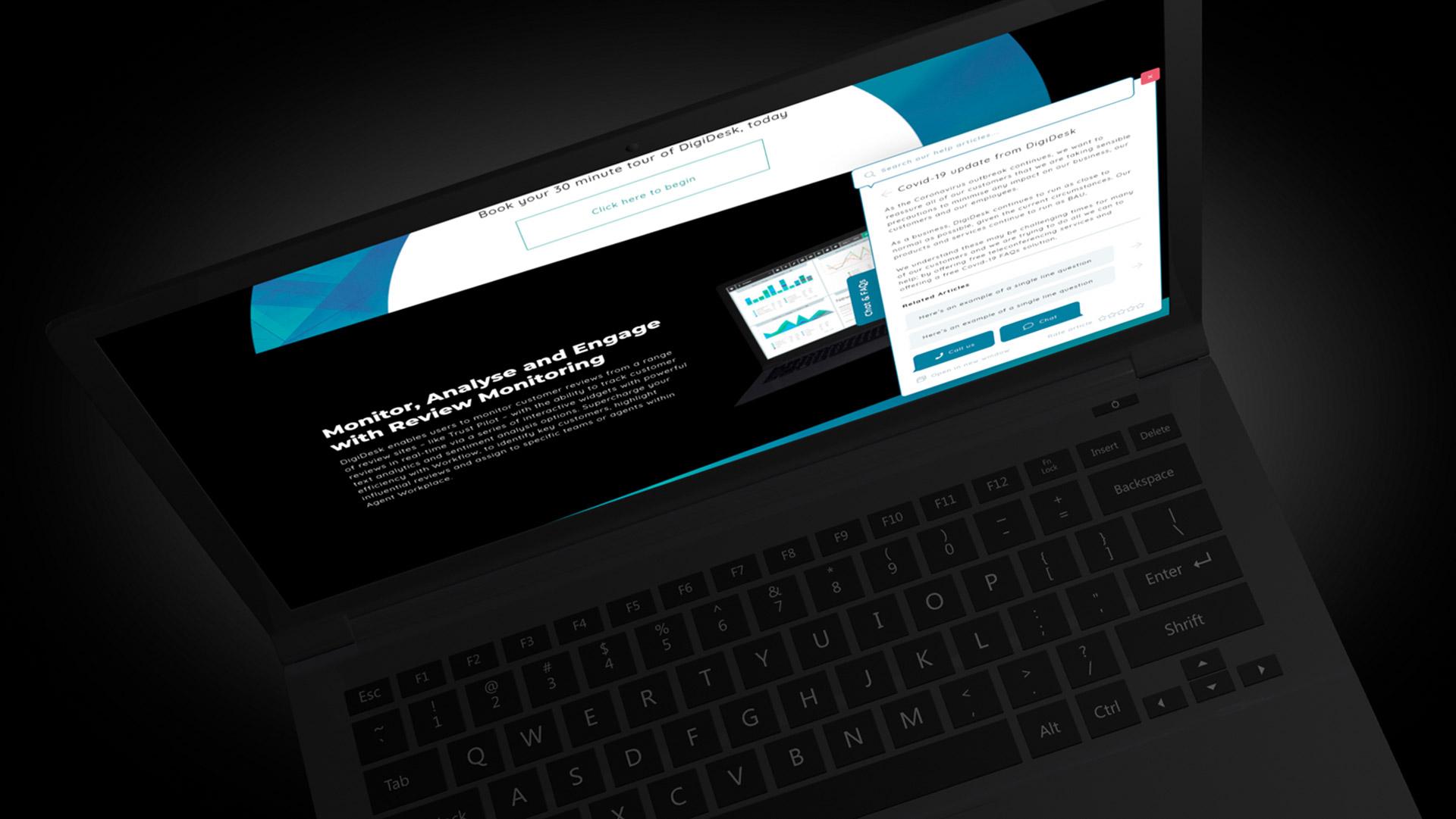 An angular view of DigiDesk's customer facing Dynamic FAQs tab